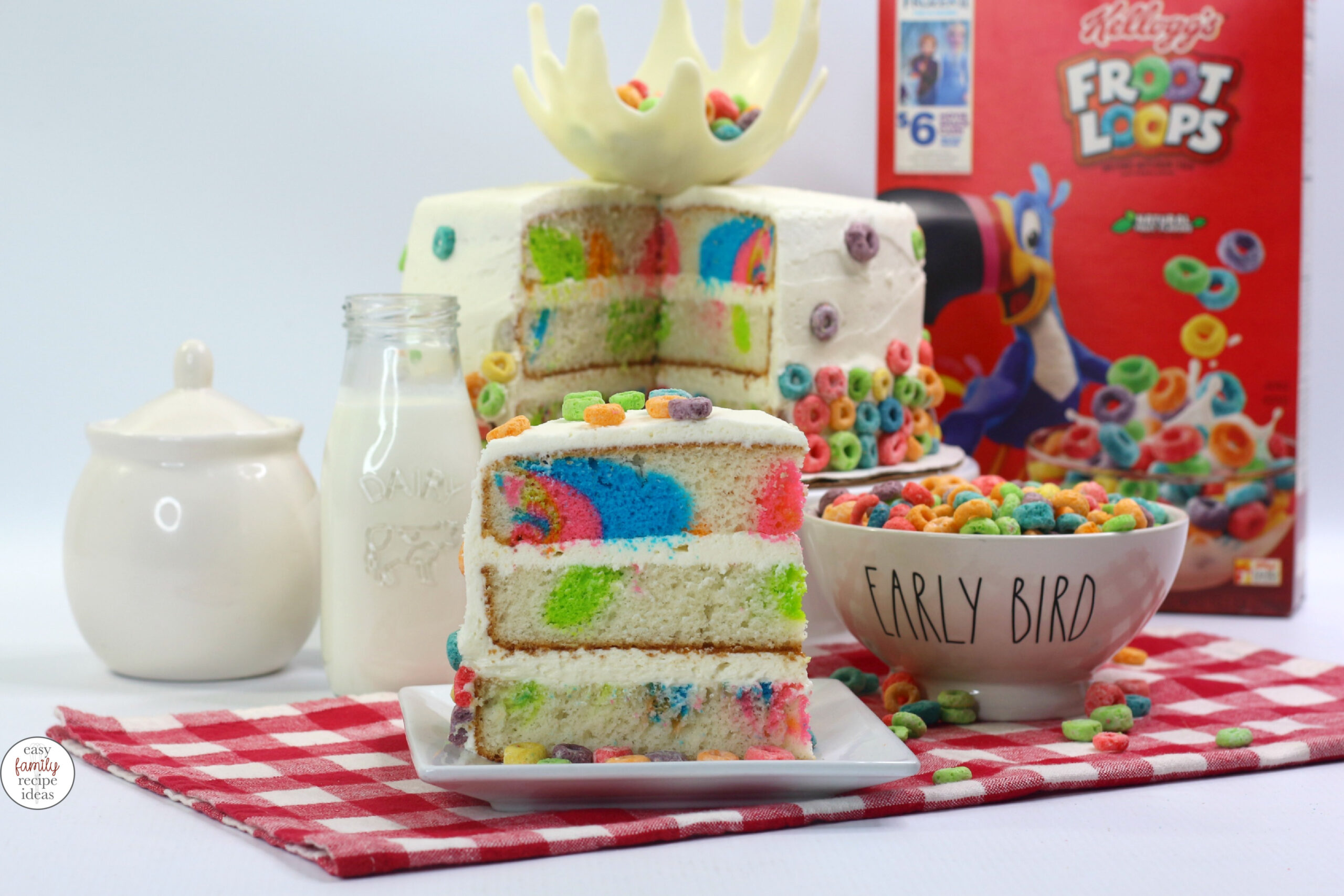 This Froot Loops Cake is a showstopper! If you're kids are a fan of Froot Loops cereal this Easy Cereal Cake recipe is perfect for a birthday party, or surprise celebration. Bake a delicious Milk and Cereal Cake Recipe today. Splash Cake