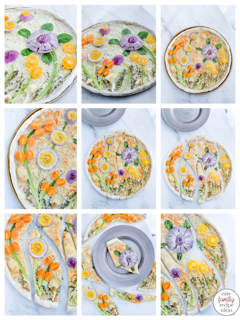 You'll love enjoying this Spring Vegetable Garden Pizza with your friends and family. It's not just dinner, it's a healthy brunch, delicious and easy lunch, and tasty art on a plate. Spring Vegetable Pizza