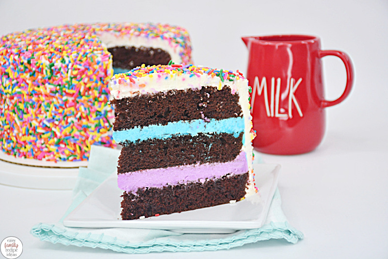 This Chocolate Rainbow Sprinkle Cake is delicious and super fun to makefor a Birthday Party or just for fun. Between each layer of chocolatey goodness, you'll find a colorful layer of frosting. Plus, there are lots of sweet sprinkles too. Chocolate Sprinkle Cake, Chocolate Sprinkle Birthday Cake