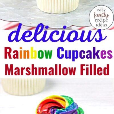 Delicious Marshmallow Cream-filled Rainbow Cupcakes Recipe