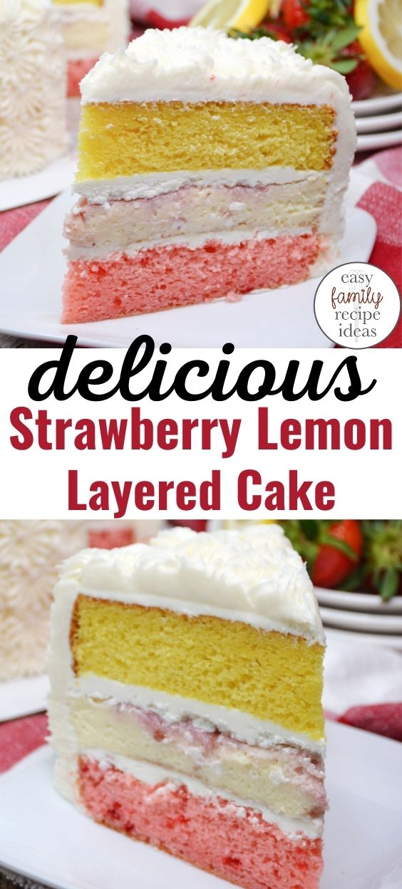 Strawberry Lemon Layered Cake, You'll love the fresh strawberries, zested lemons, and cream cheese in this delicious Summer Layer Cake. This Scrumptious Strawberry Lemon Cake is perfect for picnics and barbeques this summer. Moist Summer Cake Recipe you can use box cake mix for.