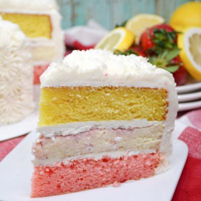 Summer Strawberry Lemon Layered Cake Recipe