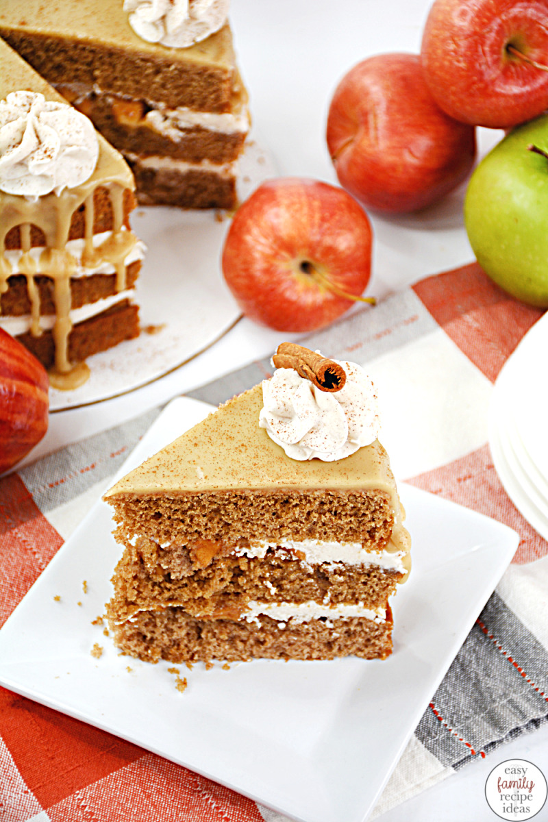 This Apple Pie Cake is sweet and moist. An apple cinnamon cake is a favorite any time of year. This Layered apple cake is filled with soft sweet apples and all the traditional fall spices we love, Find lots of Apple recipes to make at home