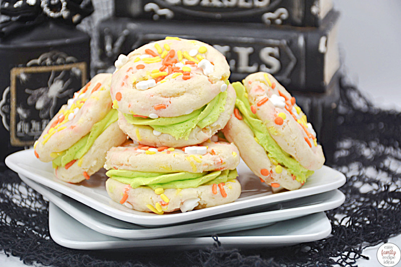 These spooky Halloween Cake Cookies are the perfect treat for fall! This cake mix cookie recipe is easy to make. Plus, these are tasty whoopie pies for fall that everyone will want to eat. Find easy Halloween snack ideas for kids, easy Halloween treats for kids and easy cookie recipes perfect for Halloween baking