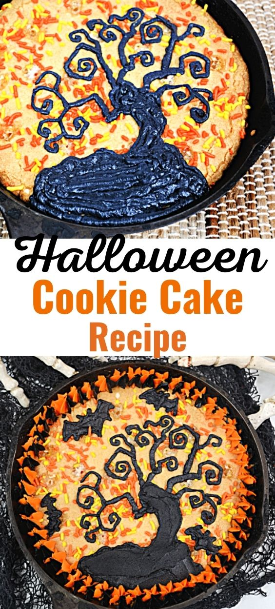 This Halloween cookie cake recipe is a delicious addition to your Halloween Party! If you're searching for easy Halloween treats for kids, you're going to love this cookie recipe! It's a Haunted Tree giant cookie that's easy to make and perfect for celebrating the fall season